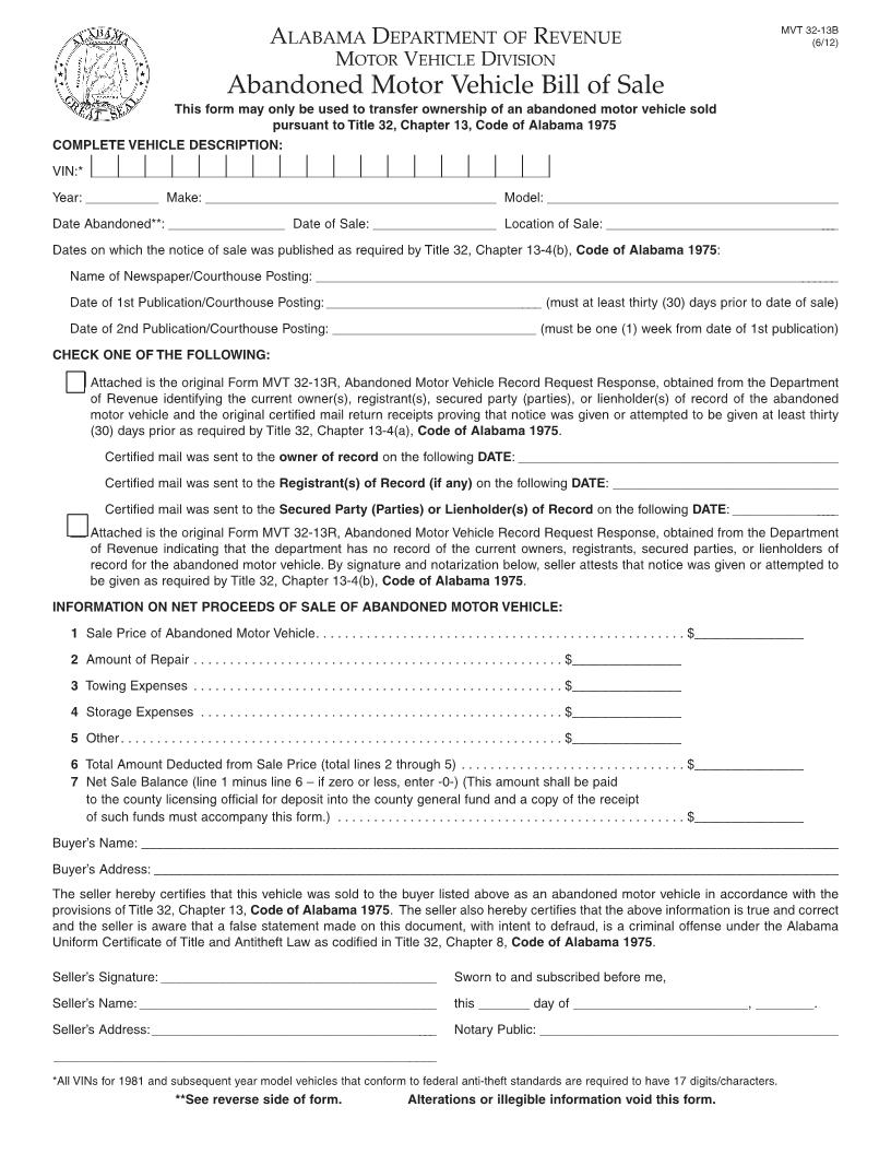 Free alabama abandoned motor vehicle bill of sale form for Motor vehicle bill of sale word document