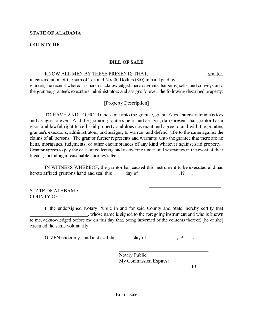 Alabama Bill of Sale Form