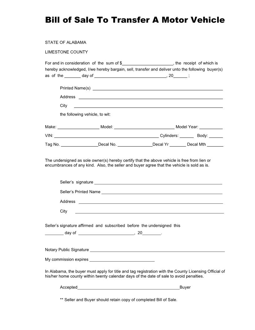 Free Alabama Vehicle Bill of Sale Form for Limestone - Download ...