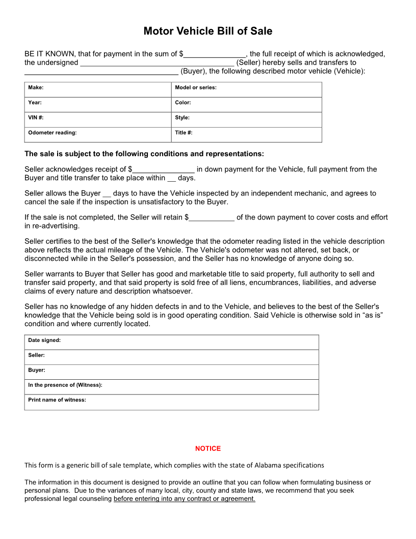 alabama automotive bill of sale Free Alabama Vehicle Bill of Sale Form - Download PDF | Word