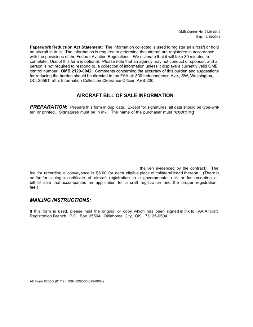 Aircraft Bill Of Sale Template