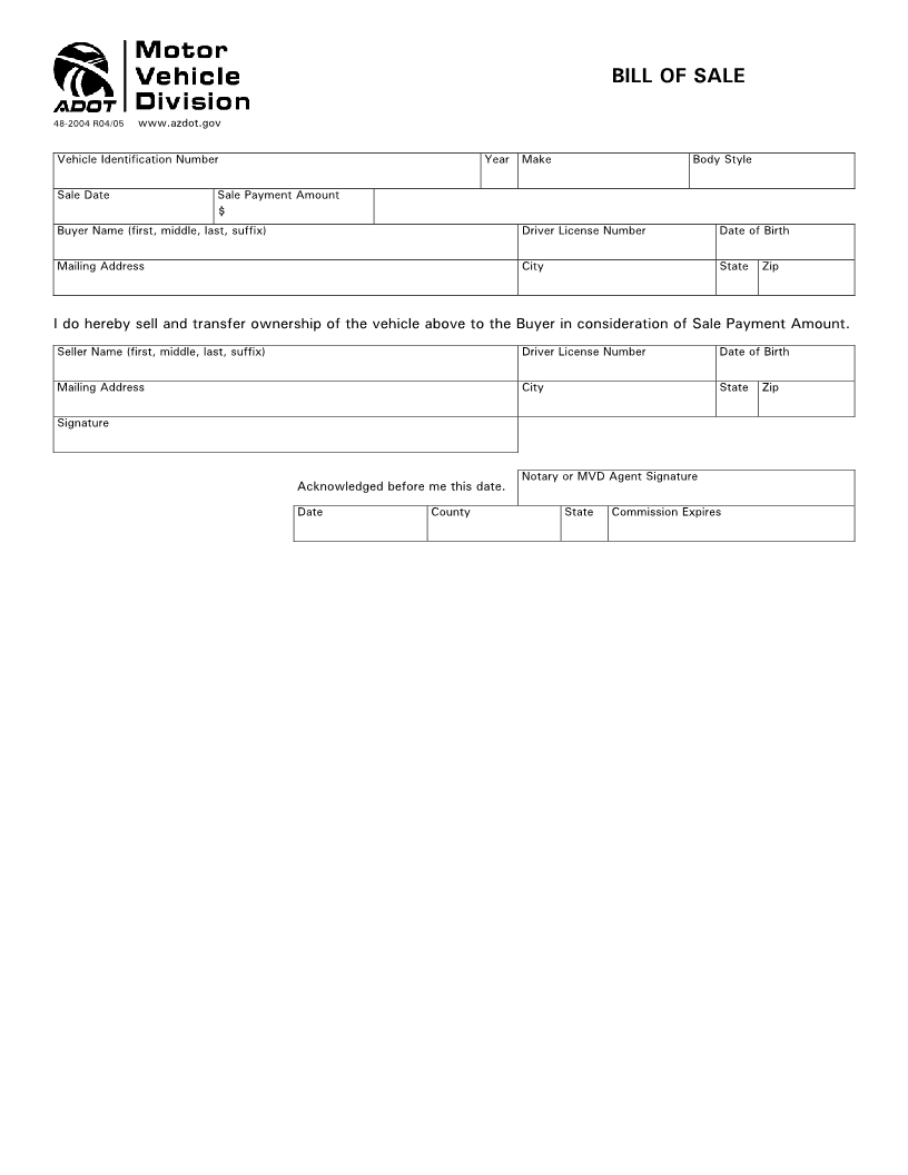 Free Arizona Vehicle Bill of Sale Form - Download PDF | Word