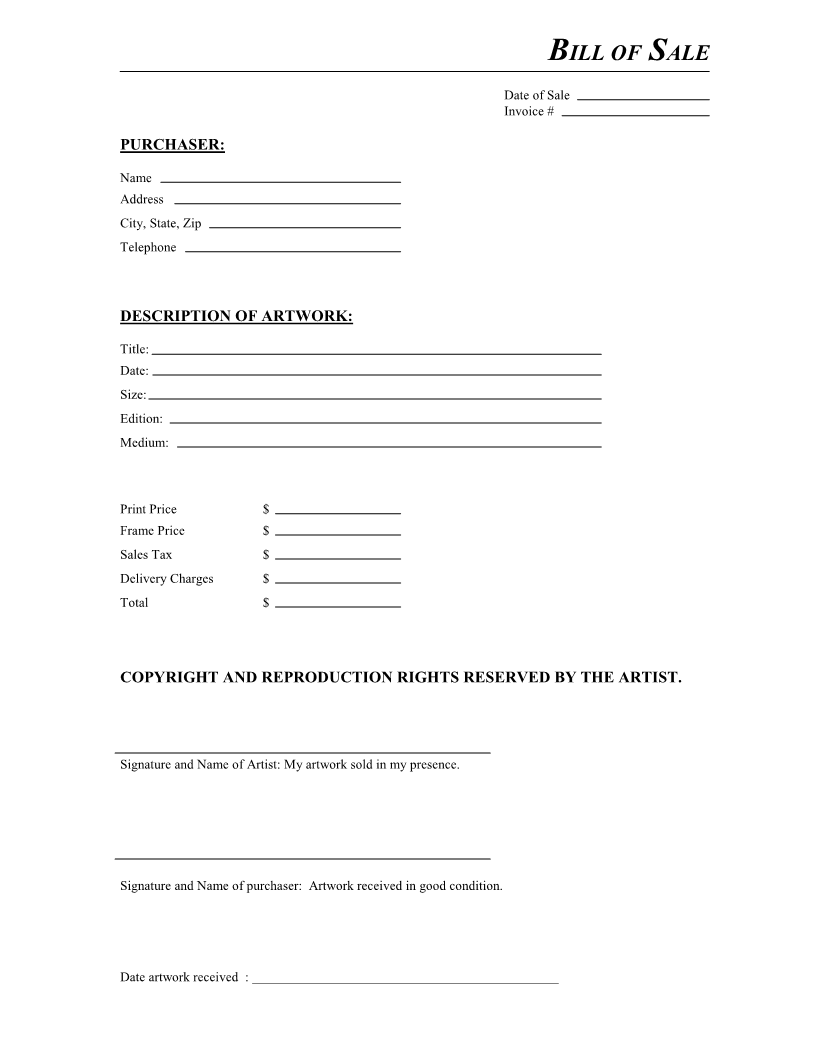 Free Artwork Bill of Sale Form Download PDF – Template for a Bill of Sale