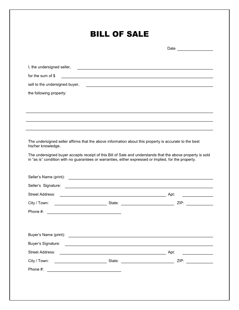 Free Blank Bill of Sale Form - Download PDF | Word