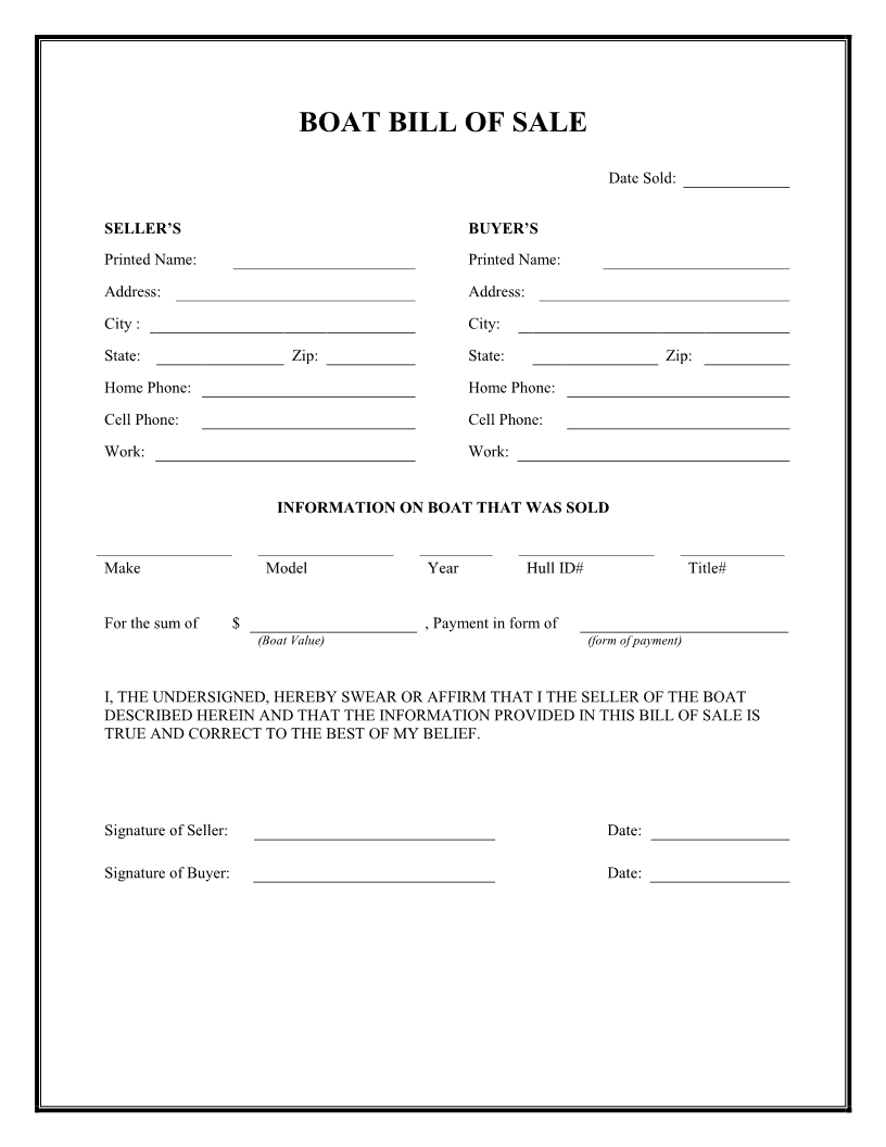Free Boat Bill of Sale Form - Download PDF | Word