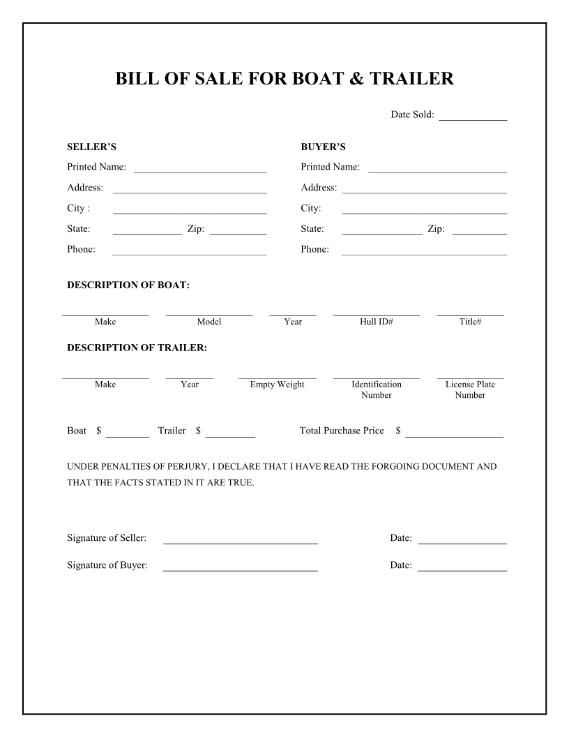 Free Boat and Trailer Bill of Sale Form Download PDF – Basic Bill of Sale Template