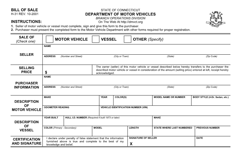 Ct Dmv Bill Of Sale >> Free Connecticut Vehicle Bill of Sale Form - Download PDF ...