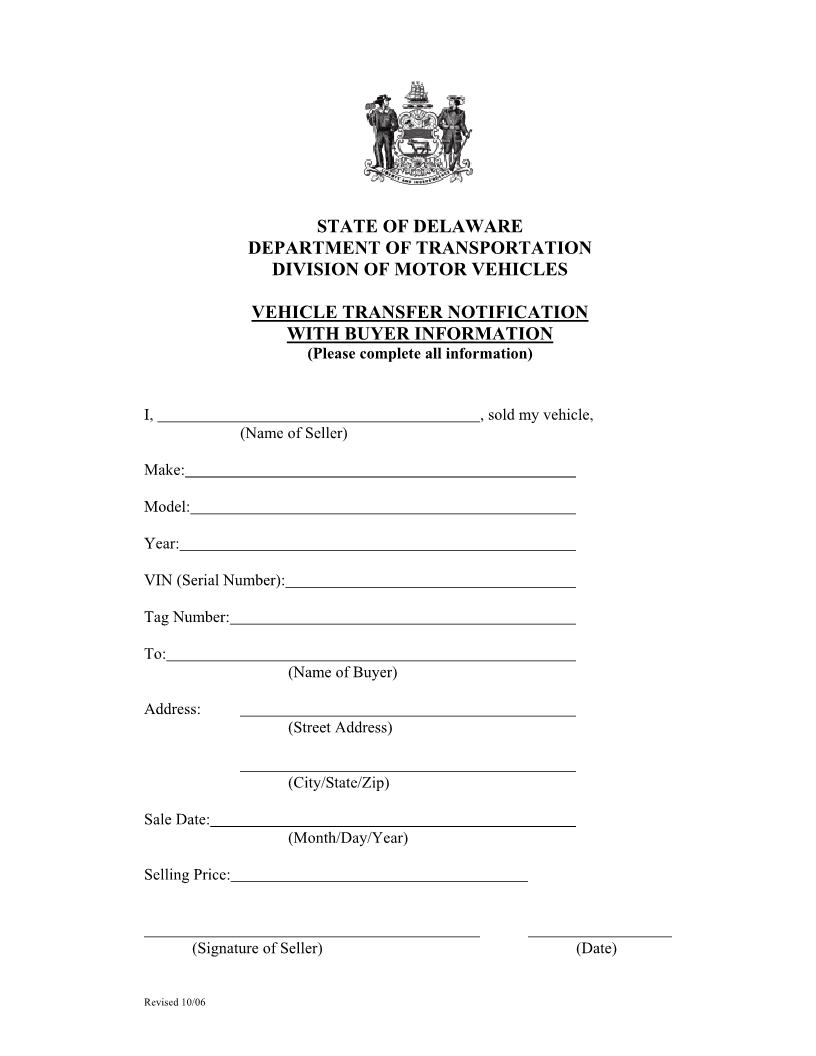 free delaware vehicle bill of sale form download pdf word