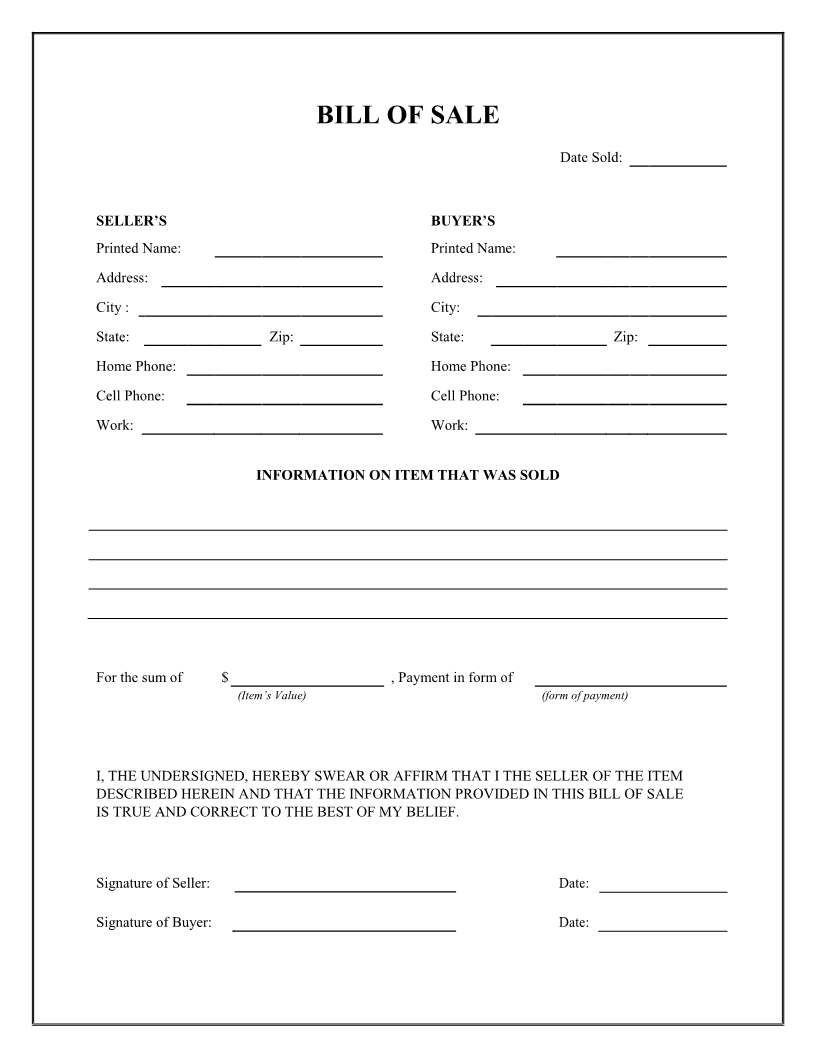 free general bill of sale form download pdf word