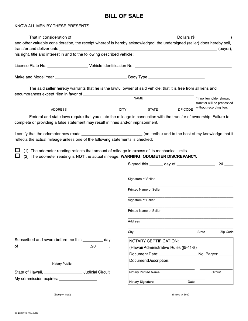 free hawaii vehicle bill of sale form download pdf word