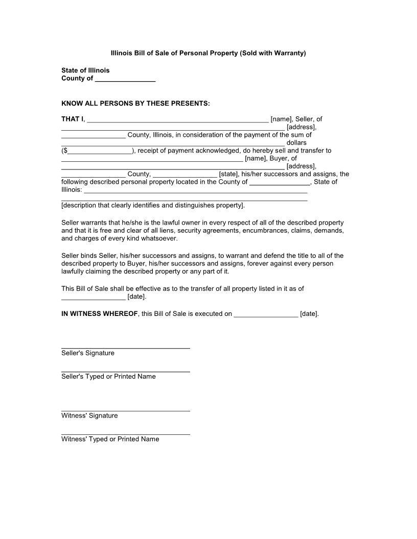 Bill Of Sale Illinois >> Free Illinois Bill Of Sale Of Personal Property Form Download Pdf