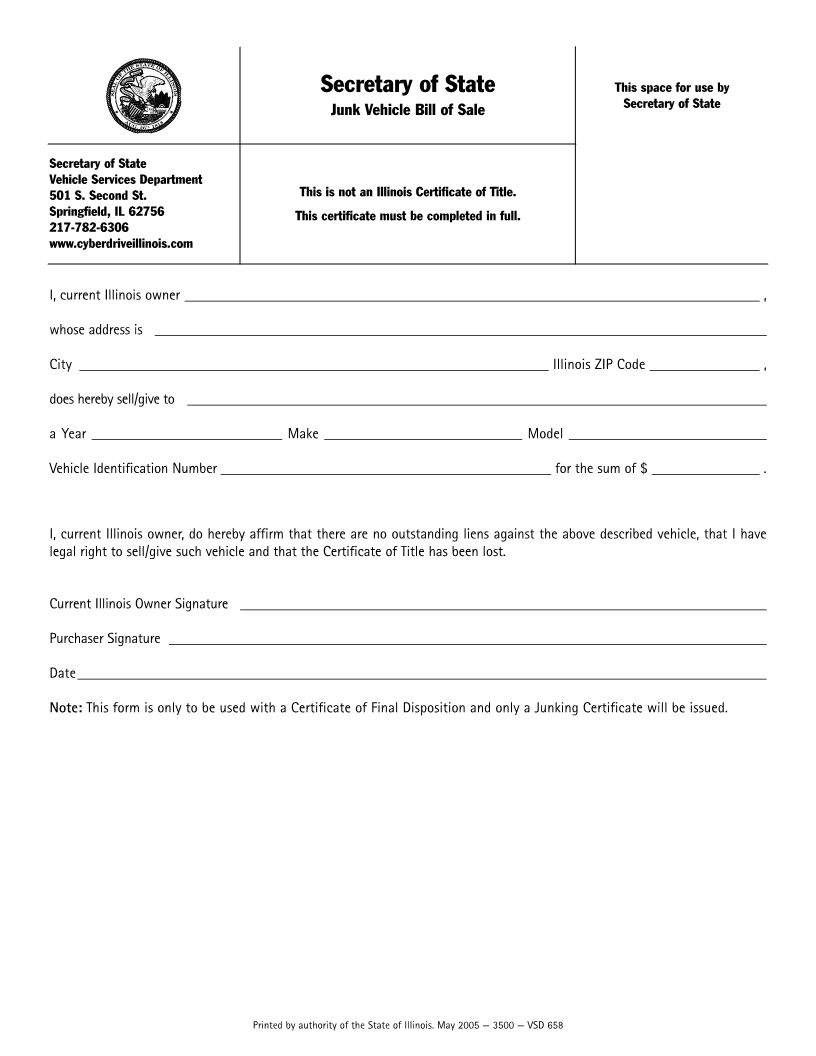 Bill Of Sale Illinois >> Free Illinois Junk Vehicle Bill Of Sale Form Download Pdf Word
