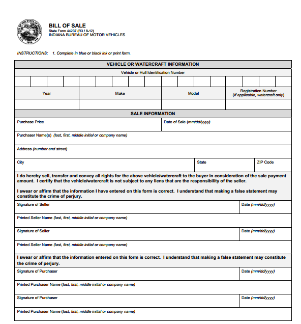 Free indiana motor vehicle bill of sale form download for Tennessee motor vehicle bill of sale