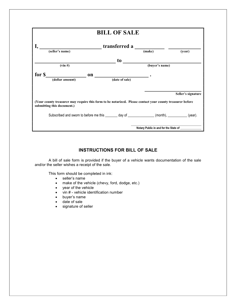 bill of sale iowa Free Iowa Bill of Sale Form - Download PDF | Word