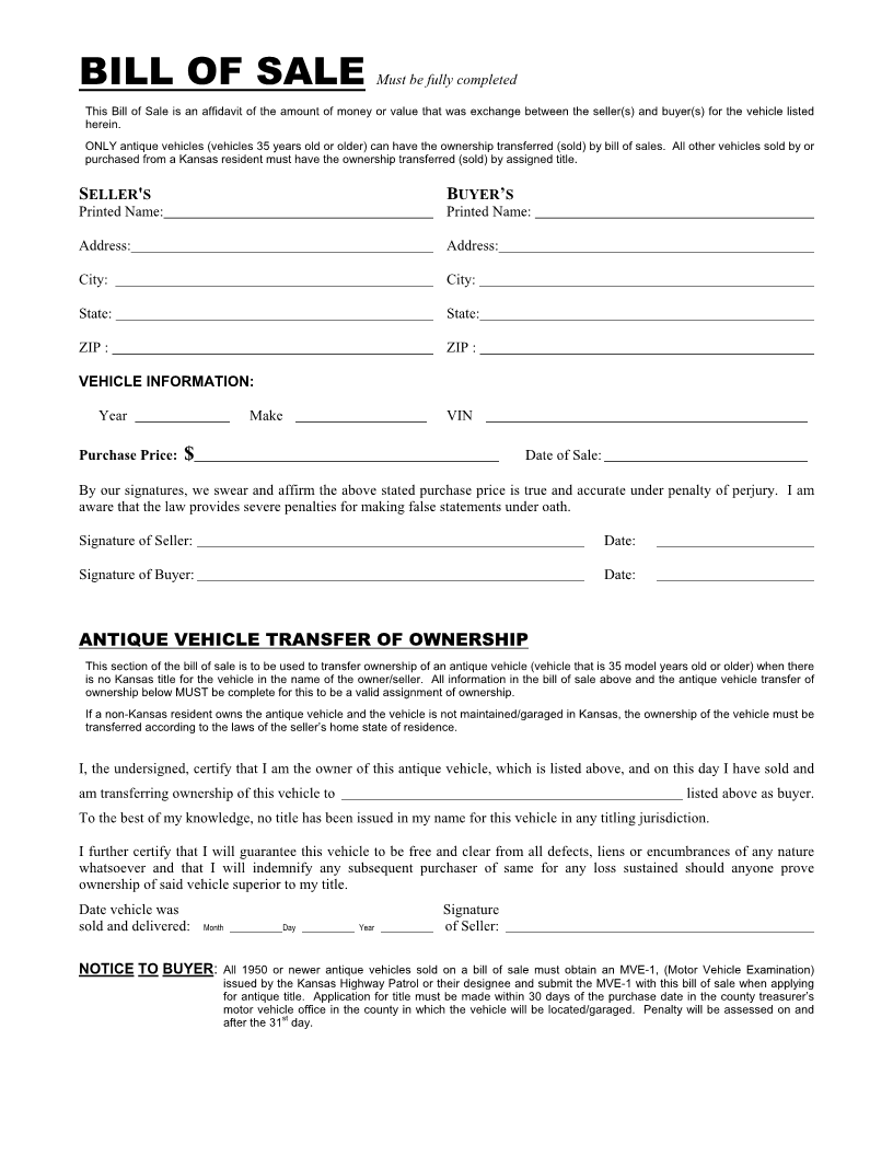 Free Kansas Vehicle Bill of Sale Form - Download PDF | Word