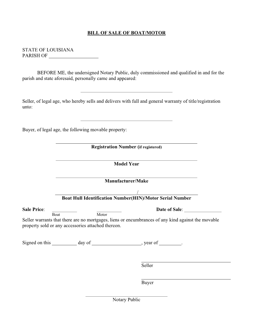 Free Louisiana Boat Bill of Sale Form - Download PDF | Word
