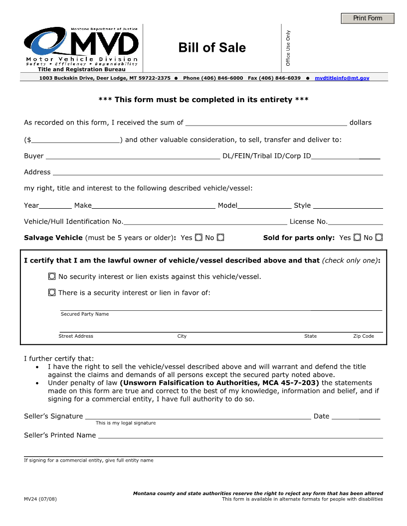 Free montana vehicle bill of sale form download pdf word for Free motor vehicle bill of sale