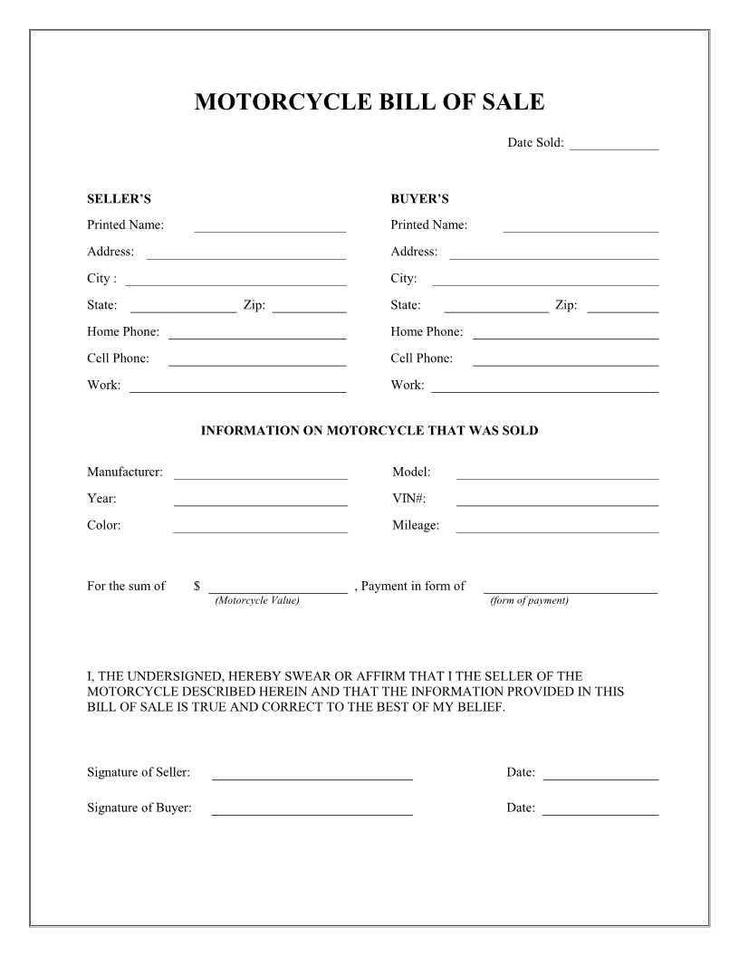 Free Motorcycle Bill of Sale Form Download PDF – Basic Bill of Sale Template