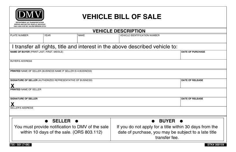 Oregon Vehicle Bill of Sale