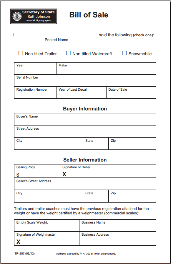 Free Michigan Bill Of Sale Form - Download Pdf | Word