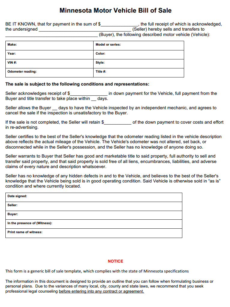 Free minnesota vehicle bill of sale form download pdf word for Bill of sale template wa
