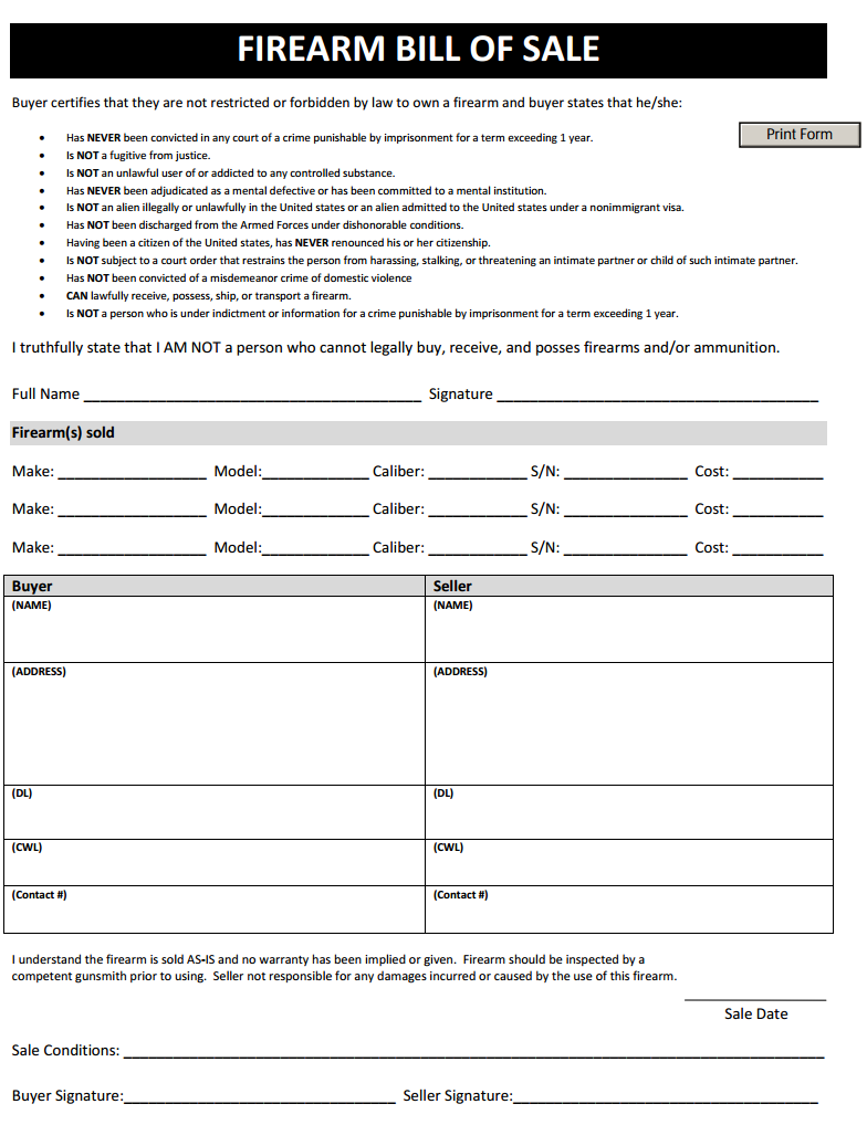 Free Firearm Bill Of Sale Form Download Pdf Word