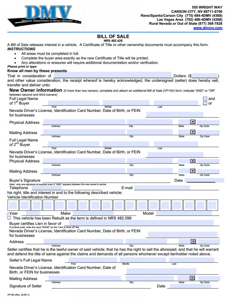 Free Nevada Motor Vehicle Bill of Sale - Download PDF | Word