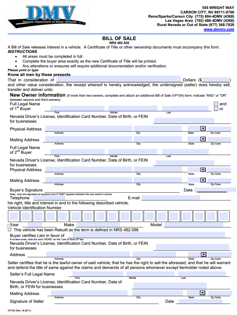 Free Nevada Motor Vehicle Bill Of Sale Download Pdf Word .