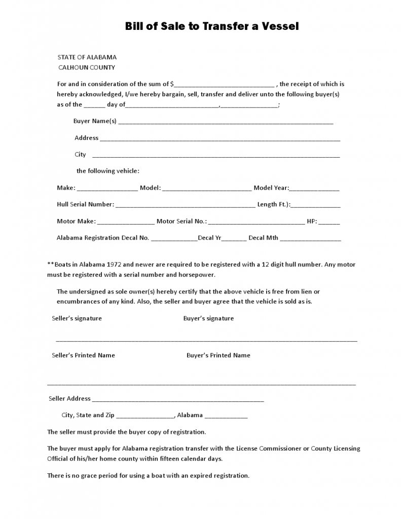 Free Alabama Calhoun Country Vessel Bill of Sale Form Download – Free Printable Bill of Sale for Boat