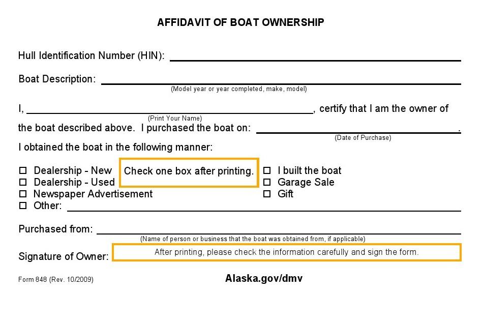 Free Alaska Affidavit of Boat Ownership Form - Download PDF   Word