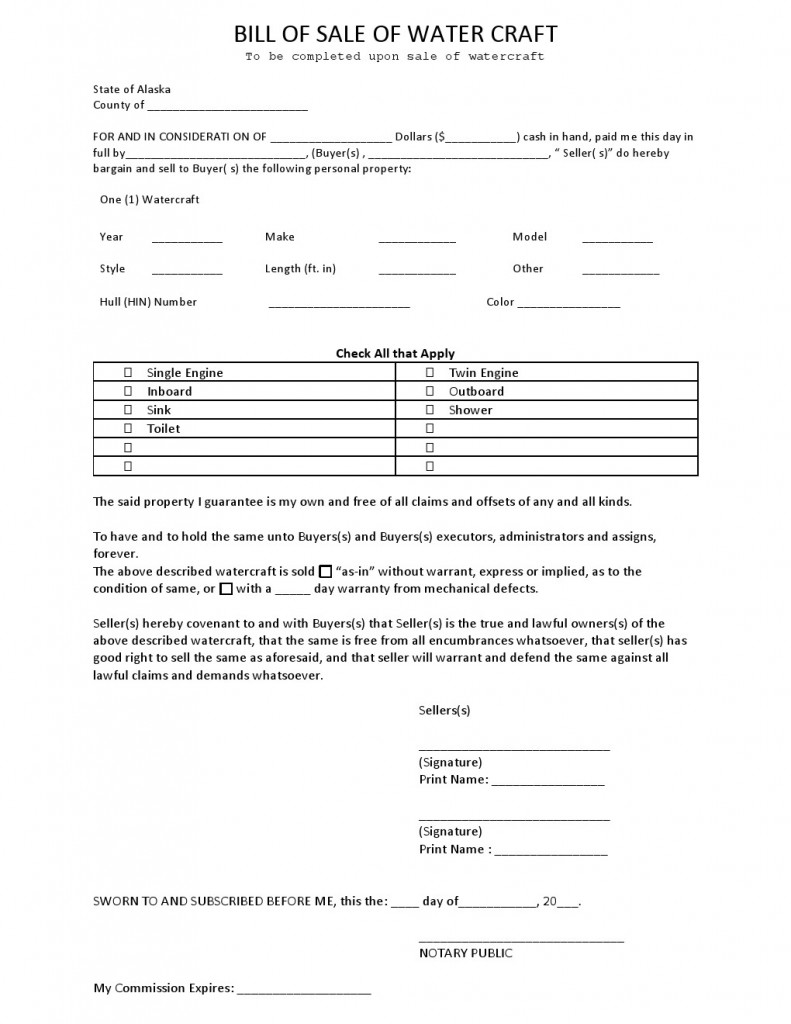 Free Alaska Watercraft Bill of Sale Form - Download PDF | Word