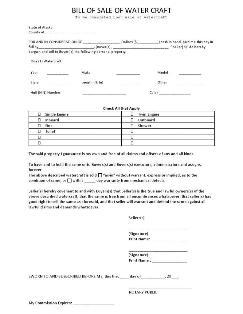 Free Alaska Watercraft Bill of Sale Form - Download PDF   Word