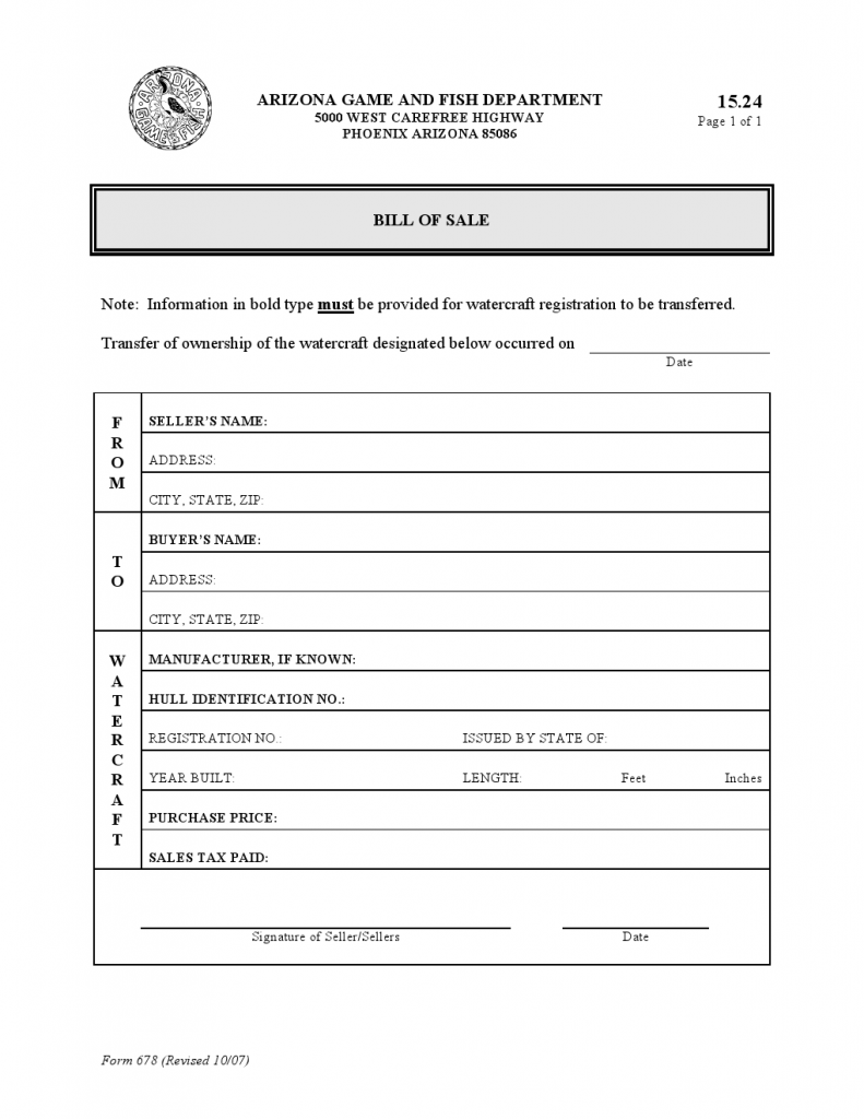Arizona Watercraft Bill of Sale Form