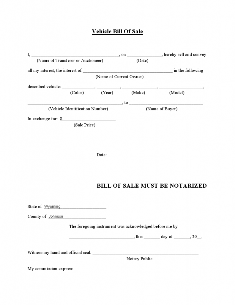 printable bill of sale for auto