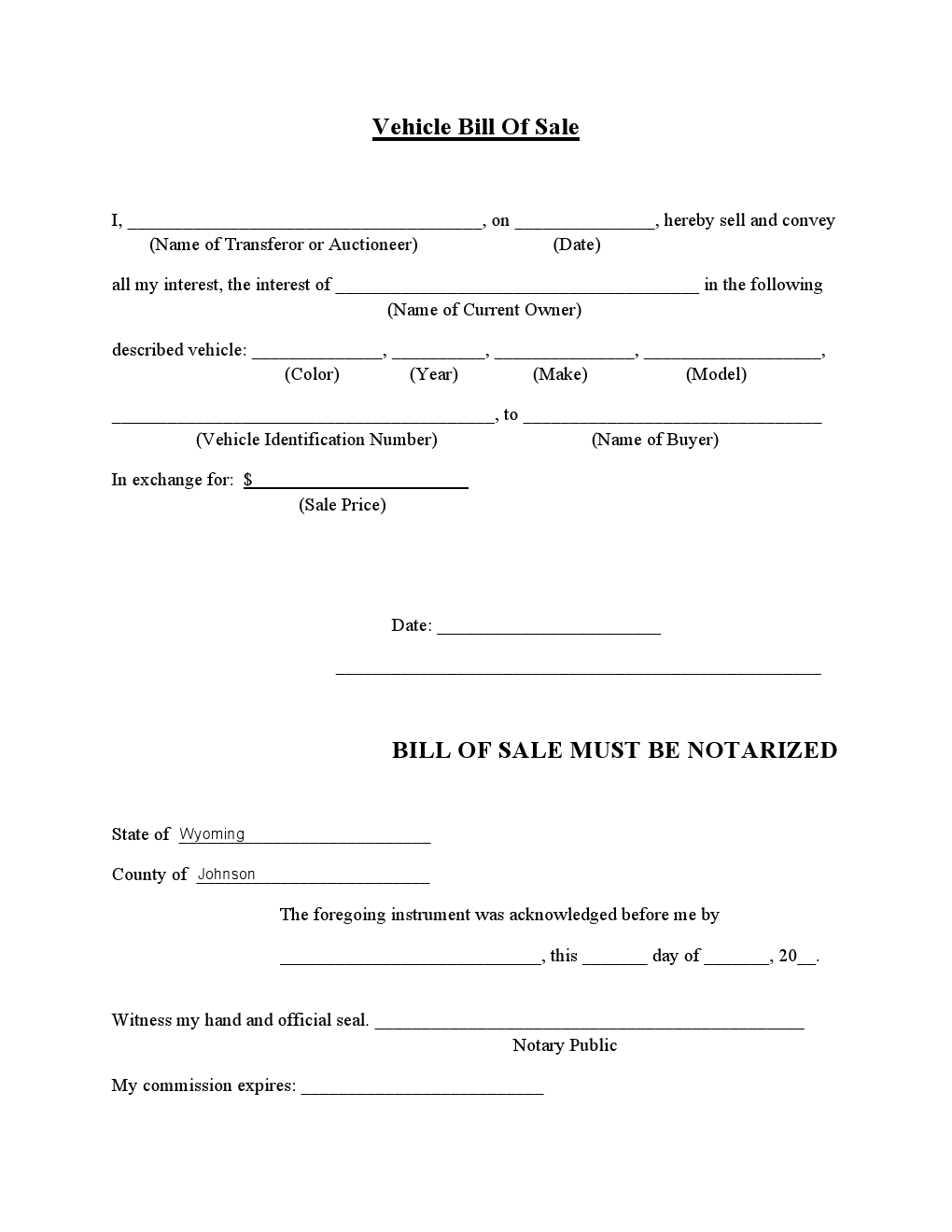 free johnson country vehicle bill of sale form download
