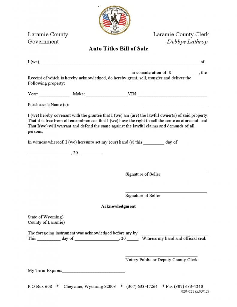 Free Printable Laramie Auto Titles Bill of Sale Template
