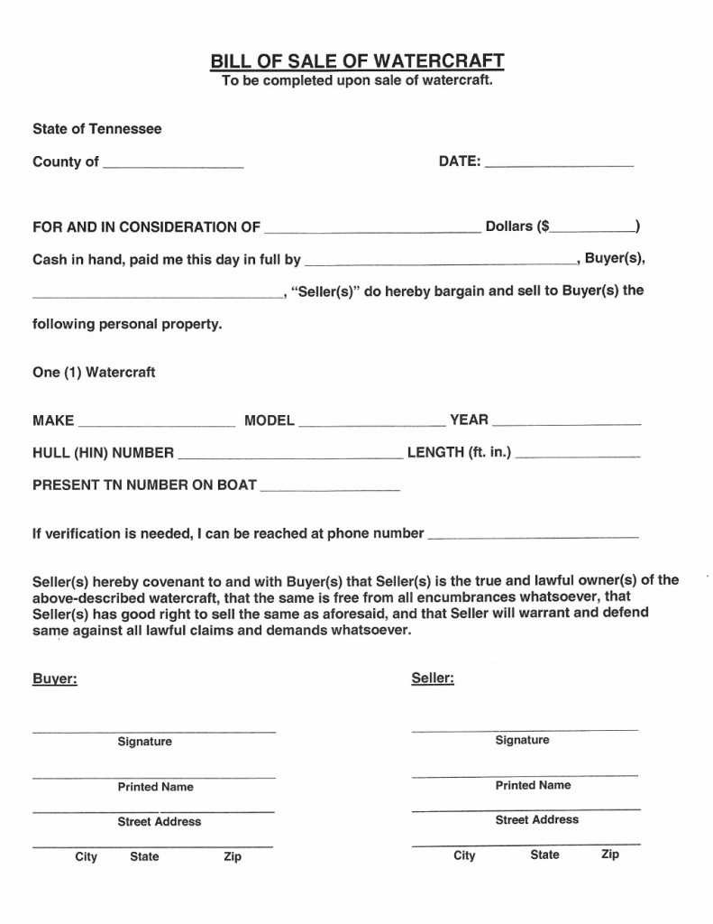 Free Tennessee Watercraft Bill of Sale Form - Download PDF | Word
