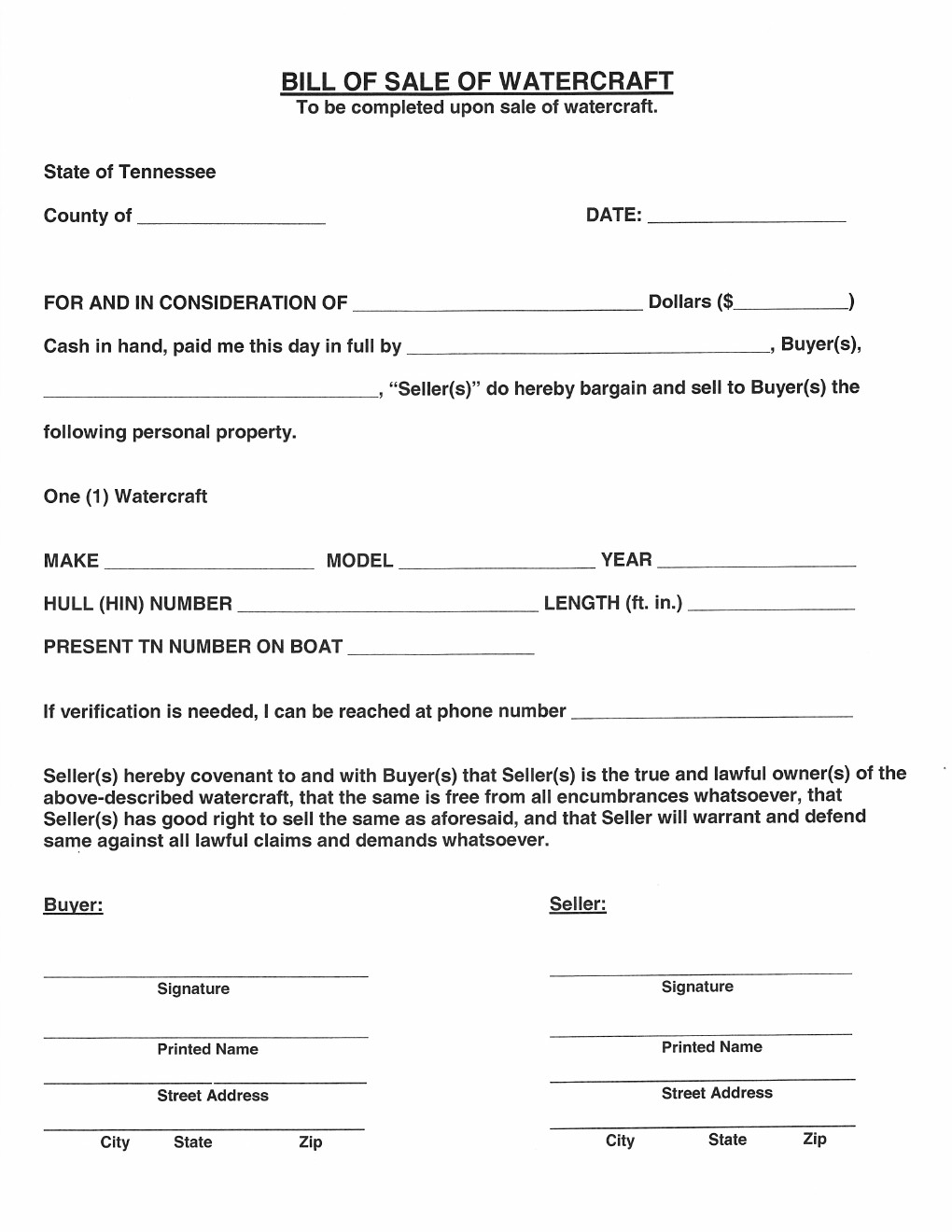 Free tennessee watercraft bill of sale form download pdf for Tennessee motor vehicle bill of sale