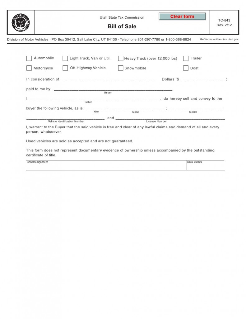 Utah Vehicle Bill of Sale Form TC-843 Template