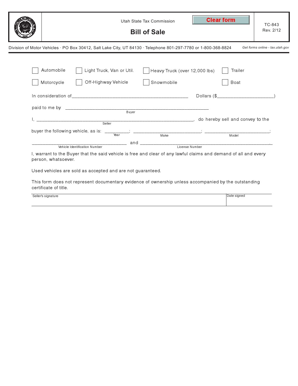 free utah vehicle bill of sale form tc 843 download pdf