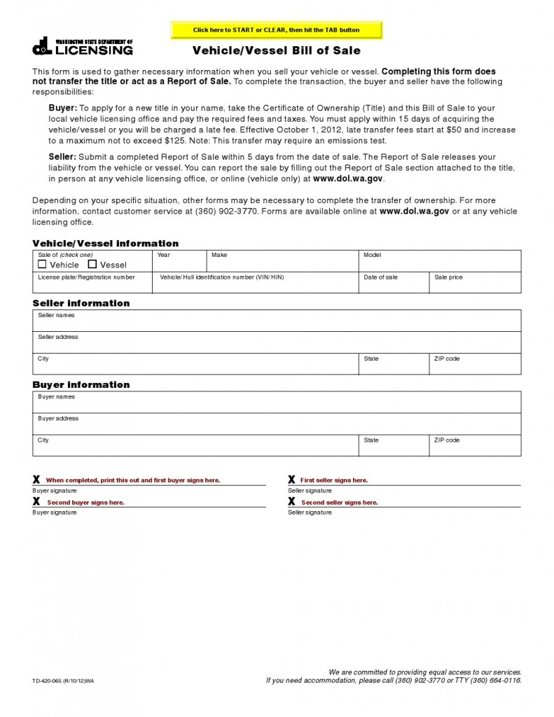 bill of sale washington state Free Washington Vehicle, Vessel Bill of Sale Form - Download PDF | Word