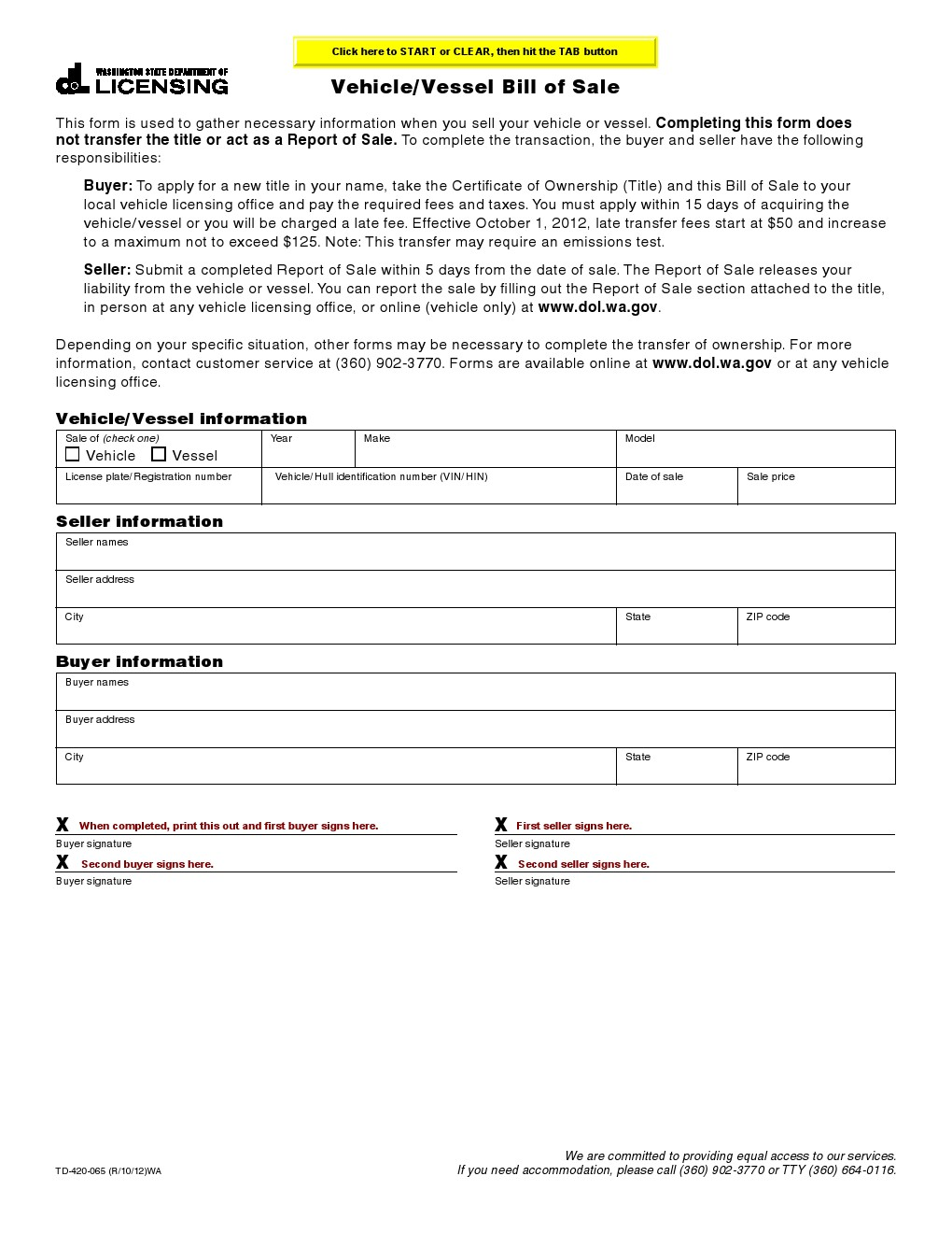 washington dol bill of sale Free Washington Vehicle, Vessel Bill of Sale Form - Download PDF | Word