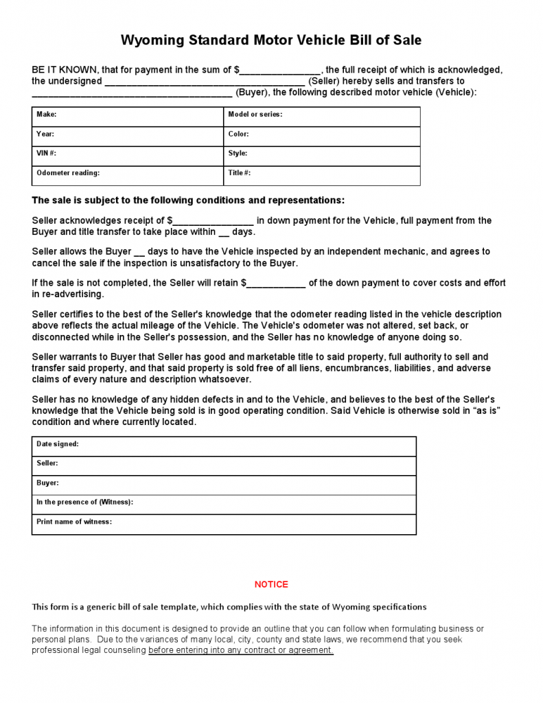 Free wyoming standard motor vehicle bill of sale form Motor vehicle bill of sale pdf