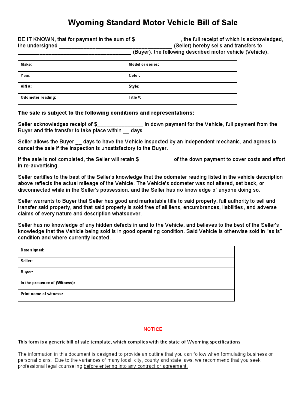 free wyoming standard motor vehicle bill of sale form download pdf
